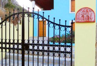 Blue villa exterior